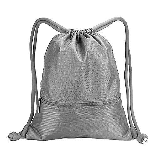 ALIXIN Nylon-Rucksack, große Kapazität, doppelte robuste Kordelzugtasche mit Taschen, wasserdicht, großer Rucksack, wasserabweisend, für Teenager und Erwachsene, ()
