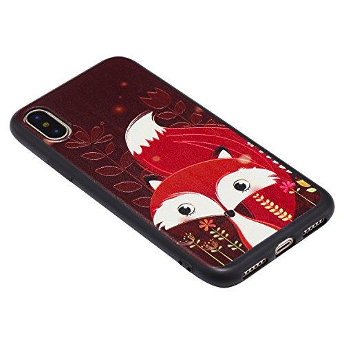 Apple X Hülle, Voguecase Silikon Schutzhülle / Case / Cover / Hülle / TPU Gel Skin für Apple iPhone X(Rot Fuchs 05) + Gratis Universal Eingabestift Rot Fuchs 05