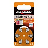 Ansmann Hearing Aid Batteries [Pack of 6] Size 13 Orange Zinc Air Hearing-Aid Suitable for Hearing Aids, Sound Amplifier - 1.45V Mercury Free