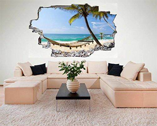 Urlaub Strand Meer Hängematte 3D Look Wandtattoo 70 x 115 cm Wand Durchbruch Wandbild Sticker Aufkleber DesFoli © C222