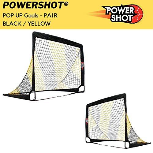 POWERSHOT Fußballtor Pop up - 2 Größen und 3 Farben zur Auswahl - 2er Set - faltbares Garten Fußballtor für Kinder (Schwarz/Gelb, 120 x 90cm) -