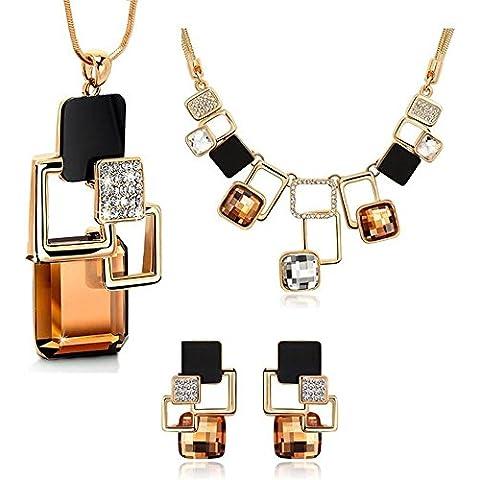 Elegante Set di gioielli con strass orecchini e collana Set per le donne regalo
