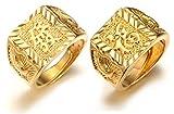 Halukakah  l'or Bénissent Tous  Le Bague de l'homme en 18K Or Véritable Doré Rich + Chance Taille Réglable