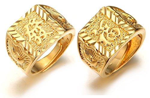Halukakah ● Gold Segne Alle ● Männlich 18K Gold überzogen Kanji Ring Reich+Glück Set Größe verstellbar mit KOSTENLOSER Geschenkpackung