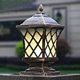 Pumpink Europäische Außensäule Licht Spalte Lampe Retro Gras Rostschutz Terrasse Gemeinschaft Open Air Gate Lamp Post Laterne Vintage Aluminium Wasserdichte Zaun Villa Garten Lampe Terrasse Licht ( Color : Brass )