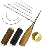 Nähen Set 11 tlg Nähnadeln gewachsten Faden Leder Nadel Fingerhut für Leder Handwerk Nähen Werkzeug leather DIY Sewing Craft Tool
