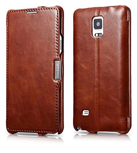 Luxus Tasche für Samsung Galaxy Note 4 / SM-N910 / Case Außenseite aus Echt-Leder / Innenseite aus Textil / Modell: Luxury / Schutz-Hülle seitlich aufklappbar / ultra-slim Cover / Etui mit Standfunktion / Vintage Look / Farbe: Braun