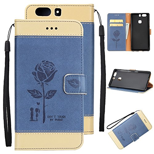 Gemischte Farben Rose Blume matt Premium PU Leder Brieftasche Stand Case Cover mit Lanyard & Card Slots für Huawei P9 Plus ( Color : Purple ) Blue