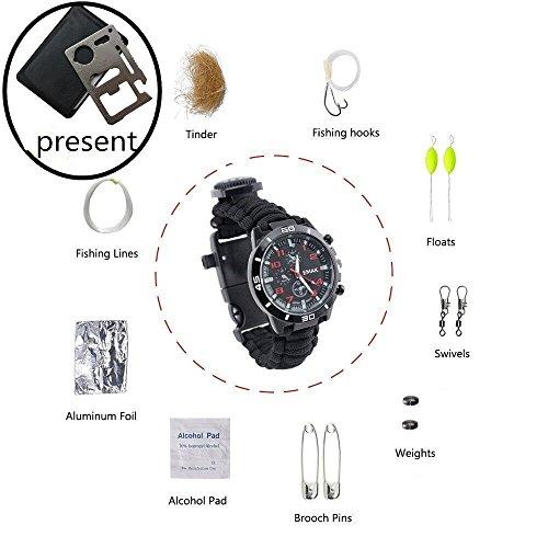 16 In 1 Survival Armbanduhr SHKAX Paracord Survival Armband mit 3 Meter Paracord Rope, 16 in 1 Zunder, Angelschnur, Haken, fangen Sie die Schwimmer, Fisch, Stecker, Alkohol, Baumwolle, Alufolie, Büroklammern,...