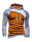 Bestgift Herren T-Shirt Hoody Pullover Multi-Taste Hoodie Shirt Knopfleiste T-Shirt Kamel+Grau+Weiß XL