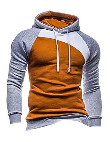 Legou Men without Zipper Splicing Nap Hoodies Sweatershirts Camel+Gray+White M