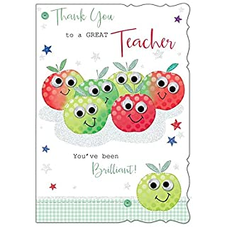 Thank You Teacher Greetings Card - Red & Green Apples With Stars 7.5