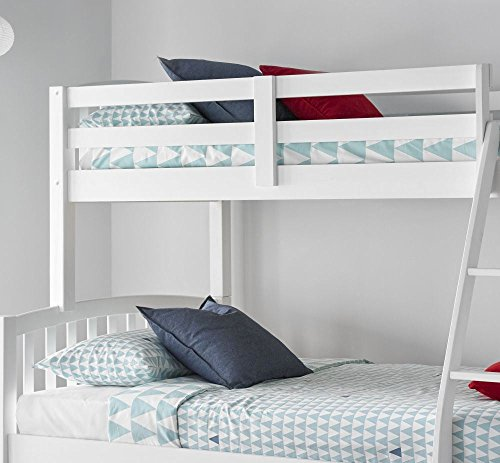 Happy Beds American Triple Sleeper Bunk Bed White Wooden Kids Bedroom Furniture with 2 x Orthopaedic Mattresses 3' Single Top 90 x 190 cm and 4' Small Double Bottom 120 x 190 cm