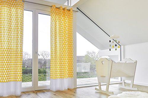 KraftKids Gardinen Uniweiss / gelbe Dreiecke Länge: 170 cm