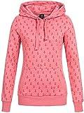 Sublevel Damen D1074L02500C Sweatshirt Kapuzen-Jacke Zip-Hood aus Hochwertiger Baumwollmischung Meliert Dark Rose L