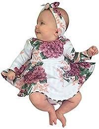 K-youth Vestido Bebe Niña, Ropa Bebés Recien Nacido Niña Chicas Flores Vestido De Princesa para Niña Vestido Niña + Venda del Pelo Ropa De Dos Piezas Ropa Conjunto