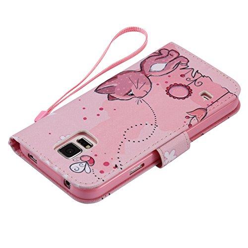 PU Coque Cuir Galaxy S5 i9600, Fermeture Aimantée de Motif Imprimé Étui Housse en Cuir Ultra-mince Avec La Fonction Stand pour Samsung Galaxy S5 i9600 Étui +Bouchons de poussière (10EE)