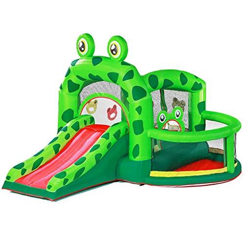 Hüpfburg Aufblasbare Burg Für Kinder Kleines Trampolin Für Zu Hause Kinderrutschen Sicherer Spielplatz Im Freien Kinderspielhaus Spielzeughaus Für Kinder (Color : Green, Size : 300x330x235cm)