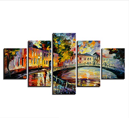 zmnba Kein Rahmen Home Decor Pictures Wall Art Hd Prints Canvas 5 Pieces Bridge Tree Classic Landscape Paintings Modular Abstract Poster -