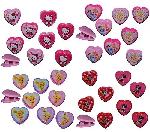 8 tlg. Set Haarclips - Hello Kitty + Minnie Mouse + Princess + Tinkerbell - für Kinder Mädchen Schmuck Haarschmuck - Haarspangen Katze rosa Haarspange
