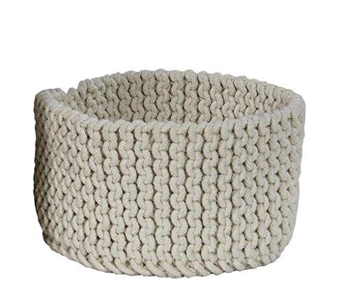 Homescapes Petit Panier de rangement rond tressé en tricot Blanc cassé 100% coton - 37 x 21 cm