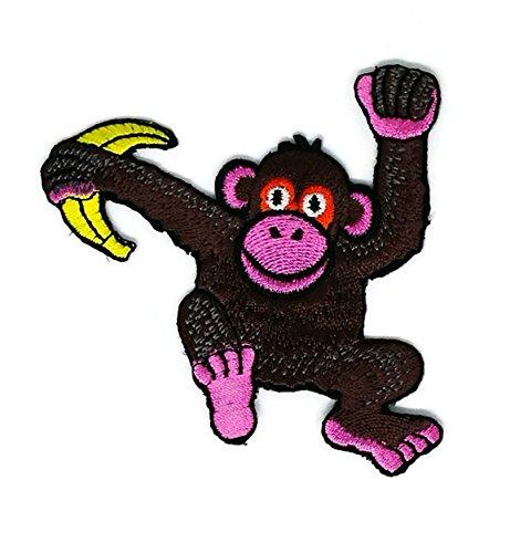 Braun Smiley Affe Banana Tier Cartoon bestickt Nähen -