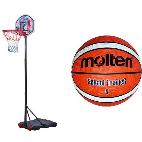 HUDORA Basketballständer All Stars, 70 x 80 x 165-205 cm, 71655 & molten Basketball, Orange/Ivory, 5, BG5-ST