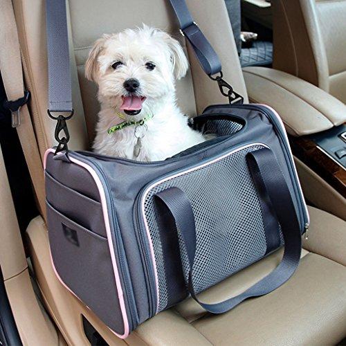 ZXLDP Hund Katze Reise Carrier Leichte Falten Oxford Tuch Haustier Träger Kiste Portable Pet Tasche Farbe Größe Optional ( Farbe : Dark gray+Pink , größe : M ) (Pet-booster Träger)