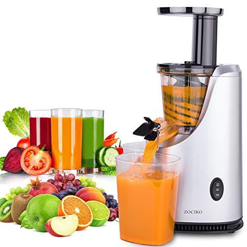 Zociko centrifuga frutta e verdura, estrattore di succo a freddo estrattore frutta e verdura motore silenzioso acciaio inox spremiagrumi 200w 55 rpm, 2 contenitori e spazzola per pulizia, senza bpa