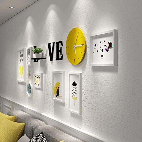 XIAHE Foto + Gestelle Kombination Wohnzimmer/Schlafzimmer dekoriert Malerei, kreative Wandbehang Massivholzrahmen, 7 Bilderrahmen + gelbe Wanduhr + Acryl Buchstaben Wandaufkleber + Regal (ohne Ornam