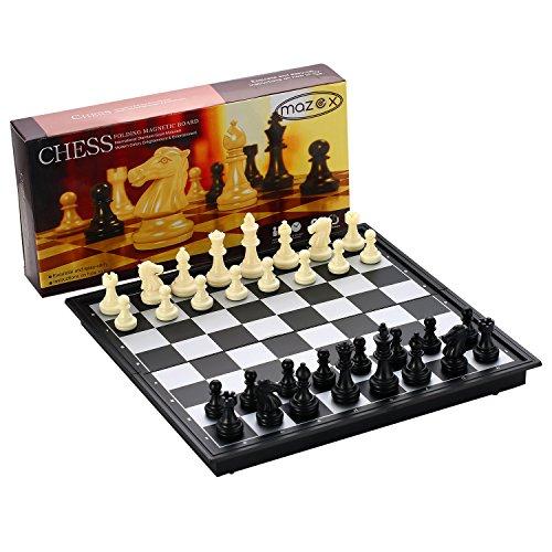 Faltende magnetische Reise Schach Set von MAZEX für Kinder oder Erwachsene Schach Brettspiel (9.8X9.8X0.8 Inch, Black&White Chess Pieces)