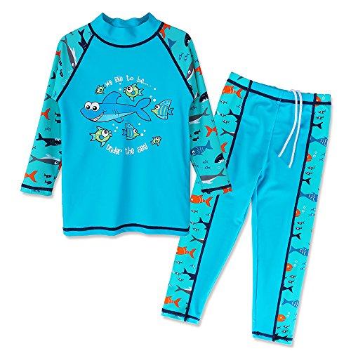 Huaaniue Badeanzug für Jungen, 3–12Jahren, Zweiteiler, 50+ UV-Schutz, Kinder, LongSleeve Blue, 4-5Y(Tag No.104/110)