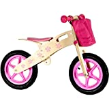 Bicicleta niña sin pedales de madera de 12 pulgadas 3 4 5 6 años con la basura rosa
