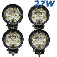 4x 27W LED Faro de trabajo para blanco redondas 12V 24V 2140lm Foco Reflector Work Light Faro Luz de trabajo Offroad SUV UTV ATV Trabajo Lámpara Tractor-Excavadora