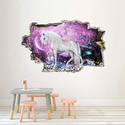 XUE 3D Einhorn Wandsticker Machen Aufkleber Tapeten Handwerk Kinderzimmer Wandbild Graffiti PVC Art Decor Selbstklebende Papier (Farbe : B)
