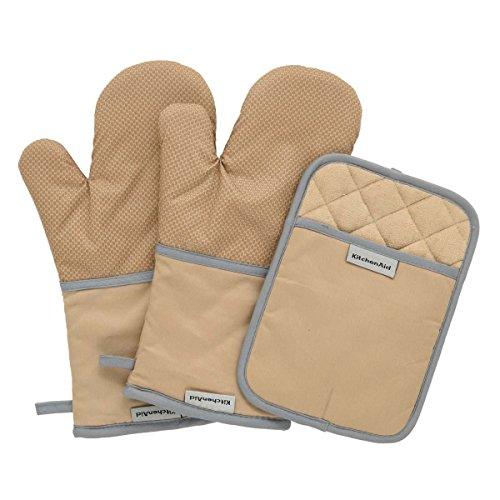 KitchenAid 100% Baumwolle Schwere Ofen Handschuh 3er Set mit rutschfesten silikon Griff taupe (Geschirr Geschirr-sets Rachel Ray)