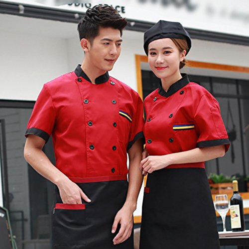 Dooxii Unisex Donna Uomo Estate Manica Corta Giacca da Chef Moda  Traspirante Cucina Mensa Hotel Uniformi Divise da Cuoco Rosso M a164573ccc40