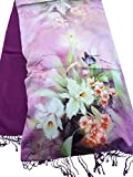 Bestfort Pashmina Tuch Stola Schultertuch Oversize Großer Schal Bedrucken Wollschal Lang Fransenschal mit Blumenmuster