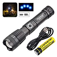 ‏‪Garberiel XHP50 Flashlight LED USB Rechargeable Torch Light Tactical Waterproof Torchlight Zoomable 5 Modes‬‏