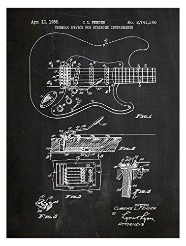 Inked and Screened Poster/Kunstdruck Fender Stratocaster Guitar Design, mit Tinte und Siebdruck