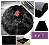 Hochflor Teppich Shaggy Gentle Luxus - Satin Luxury - Weich und Handgetuftet/In vielen bunten Farben (80 cm x 80 cm rund, Schwarz)
