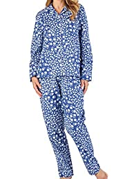 Slenderella Ladies Printed Floral Pyjamas Brushed Cotton Button Up Top   PJ  Bottoms (3 Colours c2a3b0317