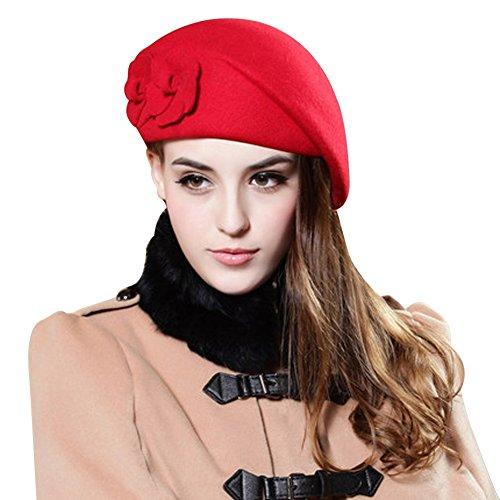 TININNA Moda francese Fiori Beret Beanie Hat Secchio Feltro di lana Cappello Benna Berretto per donne ragazze signore Rosso