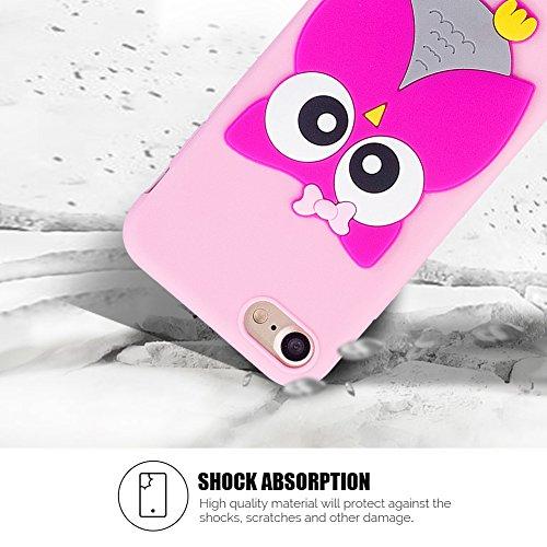 Cover iPhone 7 Case iPhone 8 Custodia SpiritsunModa Ultraslim 3D Kawaii Diy Soft TPU Case Handy Cover High Quality Case Elegante Souple Flessibile Liscio Copertura Perfetta Protezione Shell Morbido Si Owl rosa