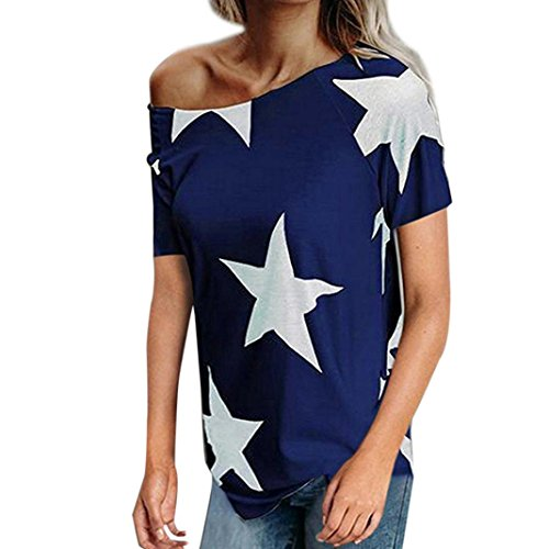 Kobay Women Star Printing of Pentagram T-Shirt Tops, Ladies' Summer Off Shoulder Short Sleeve Tank Tops Casual Loose Fit Blouses