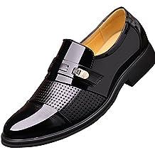 Poplover Hombre Zapatos De Vestir Planos Oxford Zapatos de Cuero Estilo Británico Comodidad Zapatos ...