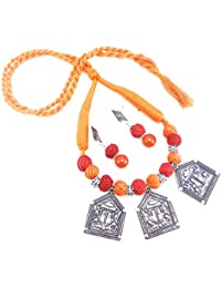 Oxidised German Silver/fashion/Antique Jewellery Orange Red Necklace Set For Women And Girls