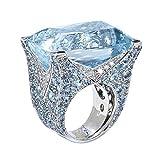 ZahuihuiM Bague Exquise Mer Bleu Saphir Diamant Bijoux Cocktail Fête De Mariage...