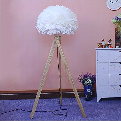 MEILING Skandinavischen Stil warme Hochzeit Persönlichkeit hochwertigen einfachen Wohnzimmer Schlafzimmer Anker Hellen holzigen Halbkugel Feder Stehleuchte (Farbe : Weiß) -