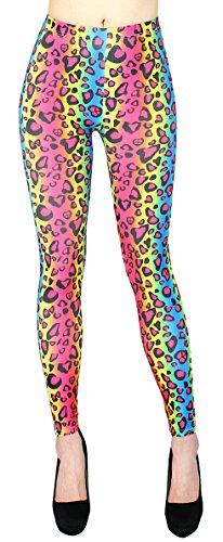 Animal Print Leggings Damen weiche Leggings in Tiger Leopard Muster - JL144 (JL144-RainbowTiger)